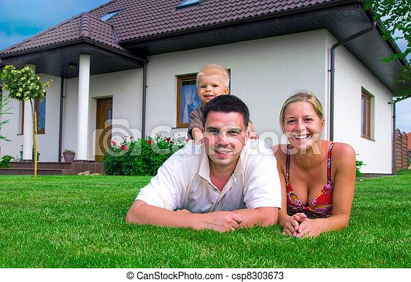 épület, család, boldog - csp8303673