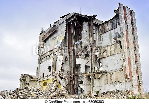 épület, ipari, maradványok, lerombol, belső, kommunikatsiy. - csp68050303