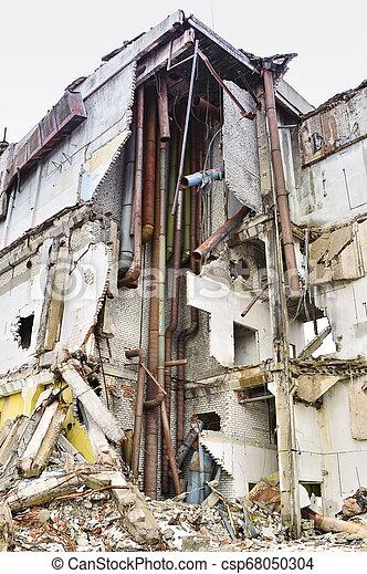 épület, ipari, maradványok, lerombol, belső, kommunikatsiy. - csp68050304