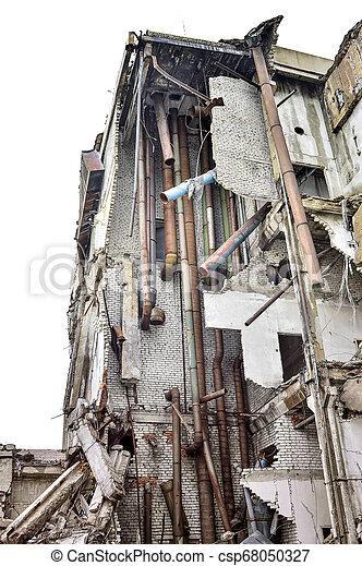 épület, ipari, maradványok, lerombol, belső, kommunikatsiy. - csp68050327