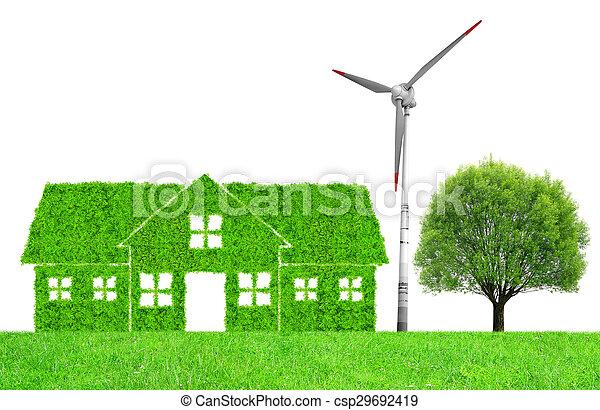 épület, jelkép, zöld - csp29692419