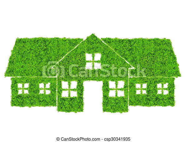 épület, jelkép, zöld - csp30341935