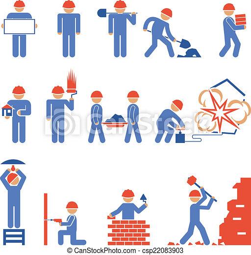 épület, különféle, pusztítás, betű, ikonok - csp22083903