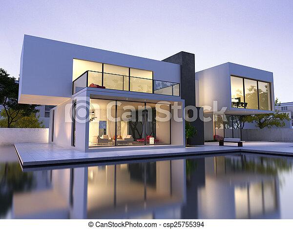 épület, modern, pocsolya - csp25755394