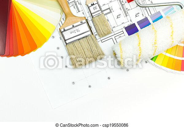 épület munka, eszközök, szobafestő - csp19550086