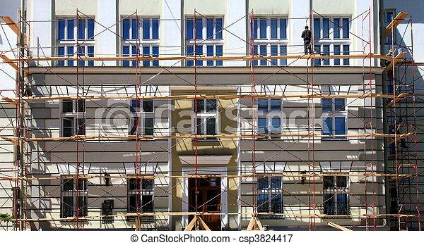 épület, restaurálás, öreg, alatt - csp3824417