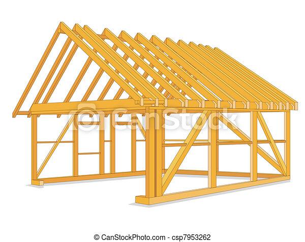 épület, szerkesztés, faanyag - csp7953262