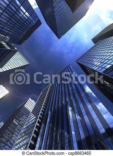 épület, város, modern - csp8663465