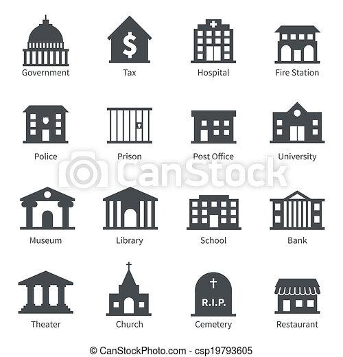 épületek, kormány, ikonok - csp19793605