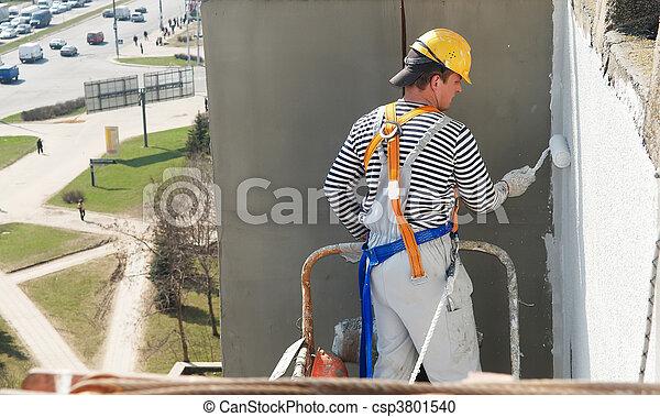épülethomlokzat, építő, munka, szobafestő - csp3801540