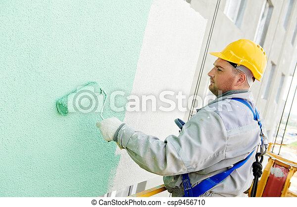épülethomlokzat, építő, munka, szobafestő - csp9456710