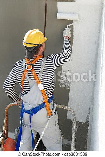 épülethomlokzat, építő, munka, szobafestő - csp3801539