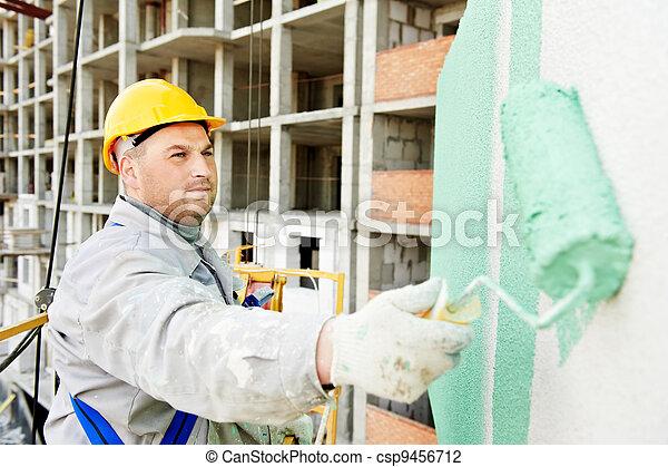épülethomlokzat, építő, munka, szobafestő - csp9456712