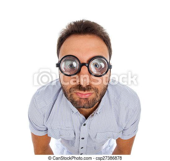 épais, homme, expression, surpris, lunettes - csp27386878