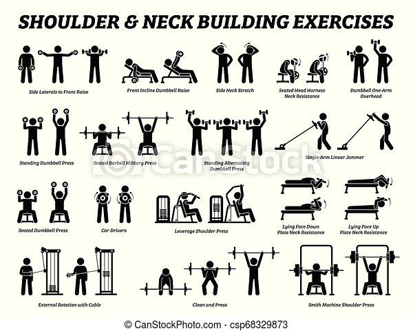 épaule, bâtiment, cou, figure, pictograms., crosse, muscle, exercice - csp68329873
