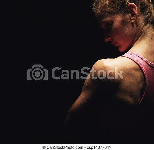 épaules, femme, fitness - csp14077641