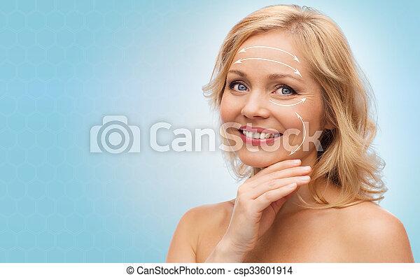épaules, visage femme, toucher, nu, sourire - csp33601914