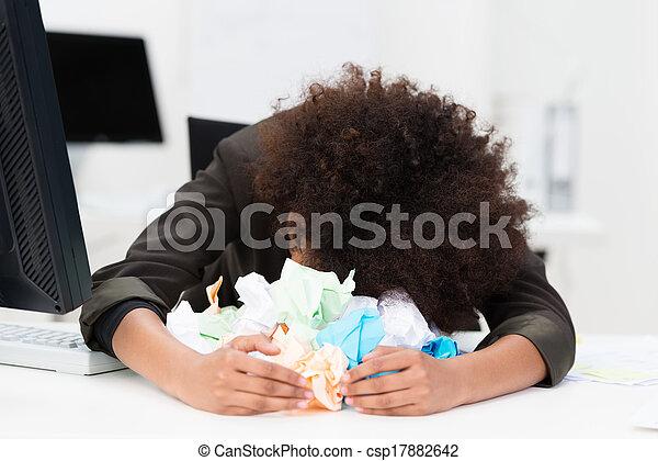 éperdu, écrivain, ou, femme affaires - csp17882642