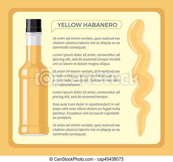épicé, jaune, habanero, bouteille, sauce, transparent - csp45438073