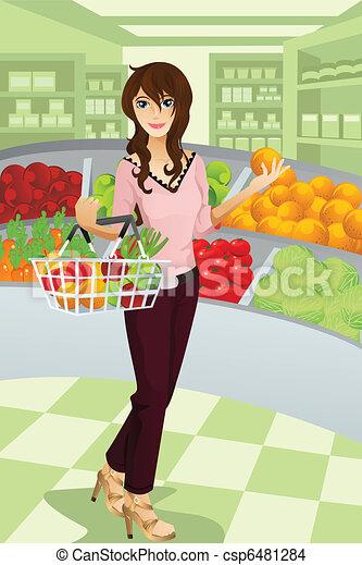 épicerie, achats femme - csp6481284