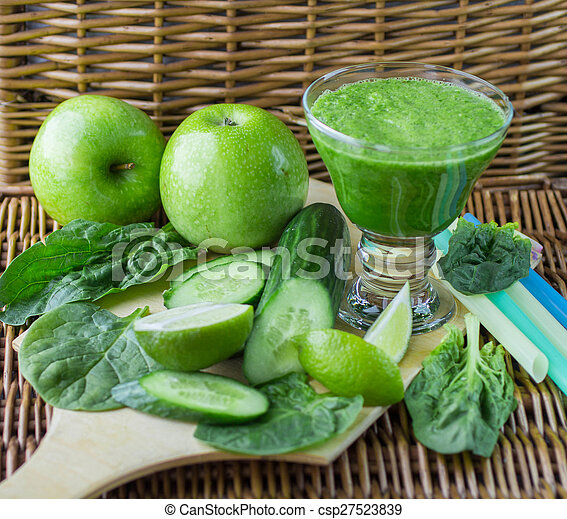 épinards, smoothie, pomme, concombre, vert, chaux - csp27523839