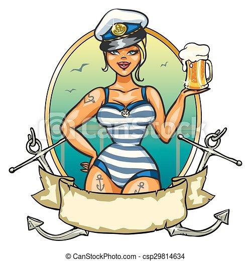 épinglez, bière, girl, froid, marin - csp29814634