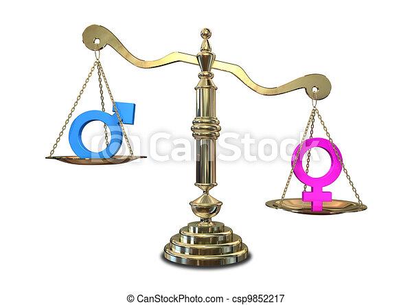 équilibrage, genre, échelle, inégalité - csp9852217