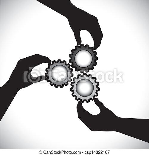 équilibre, les, concept, dent, &, graphic-, integrity., synchro, communauté, 3, tourner, collaboration, unité, vecteur, illustration, tenue, silhouettes, roues, main, spectacles - csp14322167