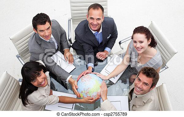 équipe, affaires mondiales, tenue, sourire, haut angle - csp2755789