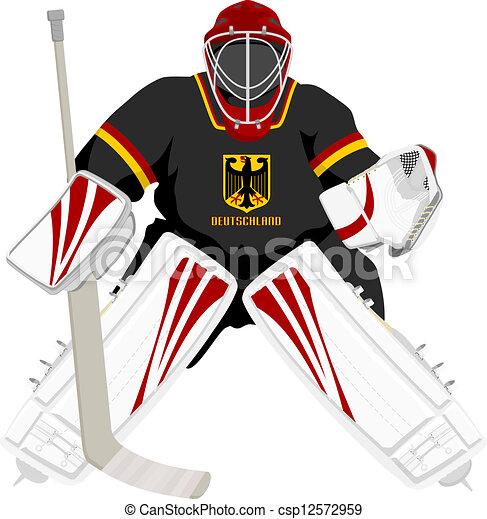 Quipe allemagne gardien de but hockey isol vecteur - Gardien de but dessin ...