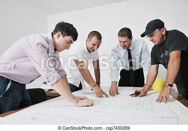 équipe, architectes, site, construciton - csp7430269