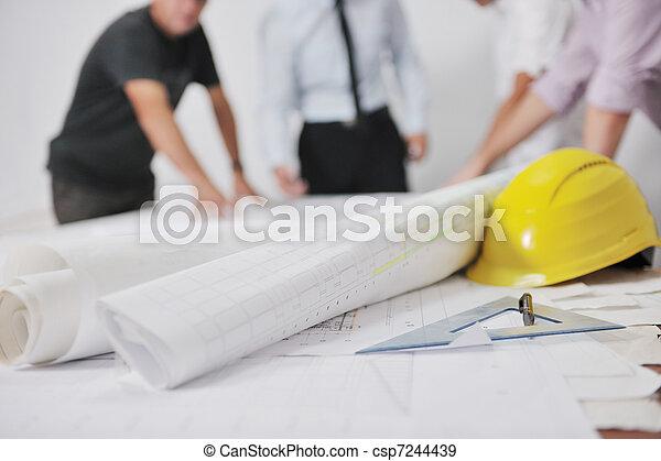 équipe, architectes, site, construction - csp7244439