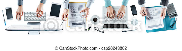 équipe, business, fonctionnement, bureau - csp28243802