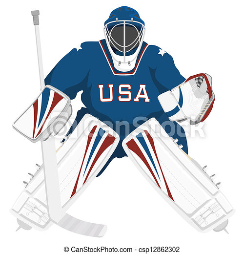 Quipe gardien de but usa hockey usa isol vecteur - Dessin gardien de but ...