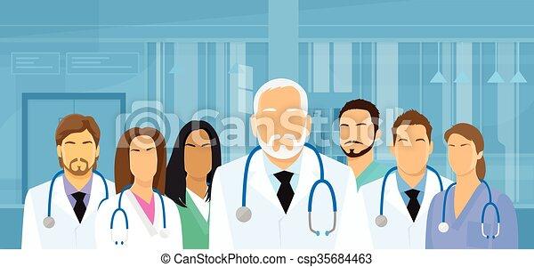 équipe, groupe, plat, médecins hôpital, médian - csp35684463