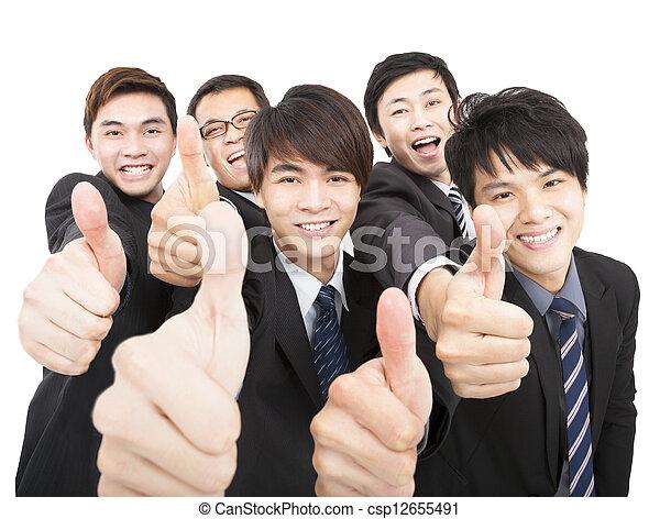 équipe, pouces, business, reussite, haut - csp12655491