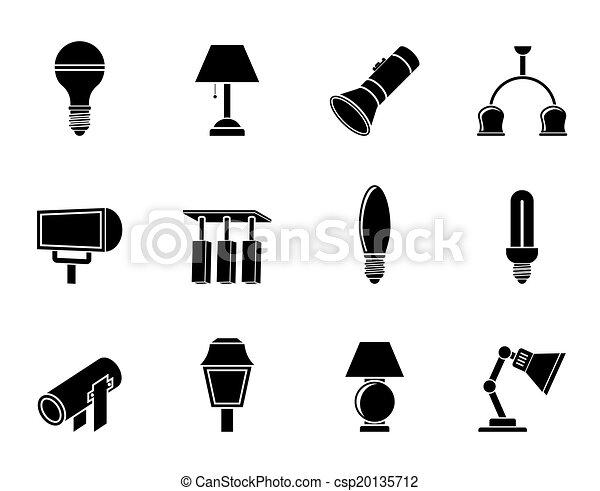 équipement, éclairage, icônes - csp20135712