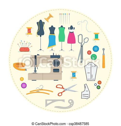 équipement, concept, rond, couture - csp38487585