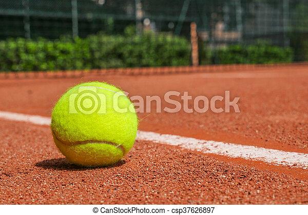 équipement, court tennis, argile - csp37626897