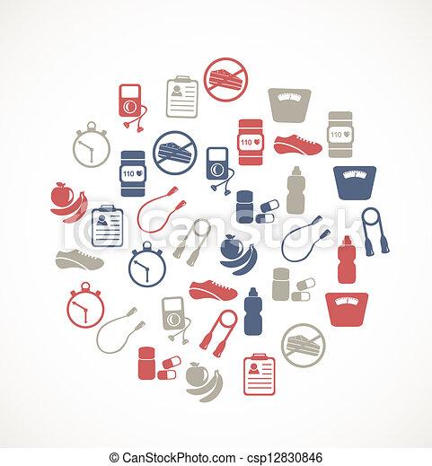 équipement, exercice, icônes - csp12830846