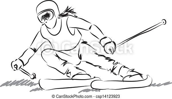 équipement, femme, illustrati, ski - csp14123923