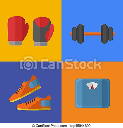 équipement, gymnase, sports, set., icônes - csp45844690