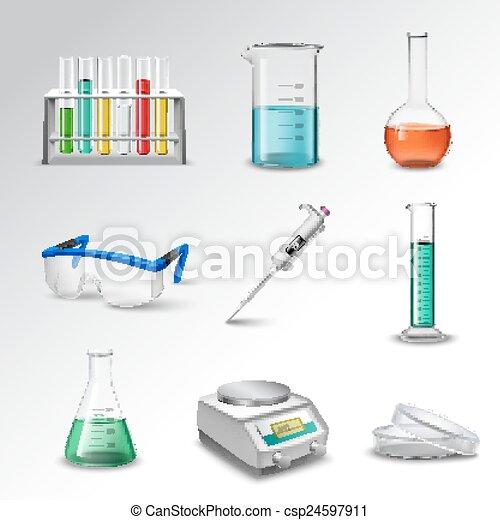 équipement, laboratoire, icônes - csp24597911