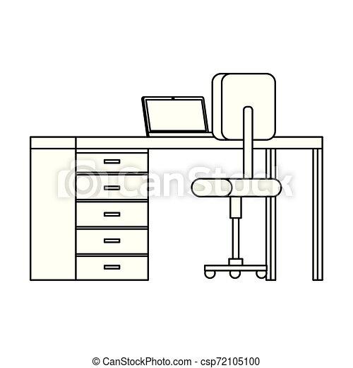 équipement, ordinateur portable, chaise, bureau bureau - csp72105100