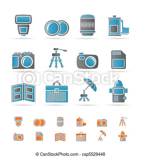 équipement, photographie, icônes - csp5529448