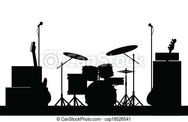 équipement, rocher, silhouette, bande - csp18526541