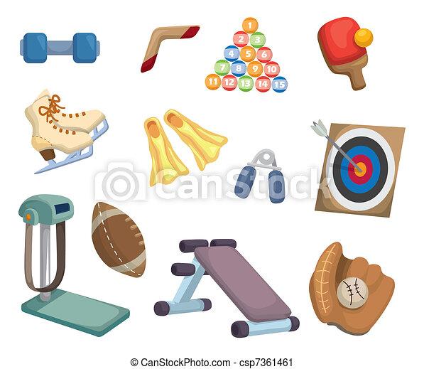 équipement, sports, dessin animé, icônes - csp7361461