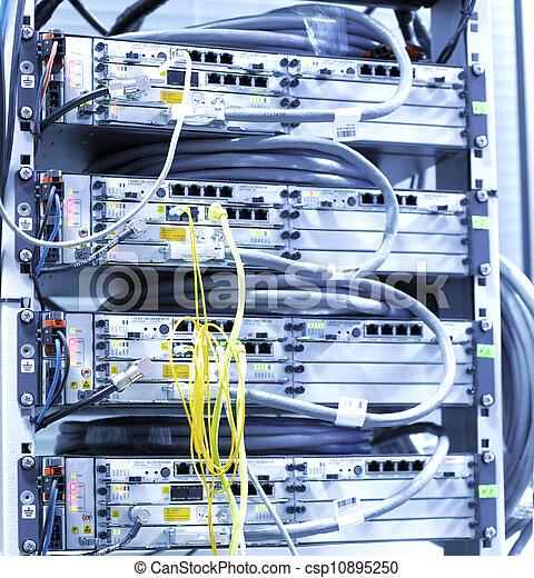 équipement, télécommunication, réseau, cables. - csp10895250