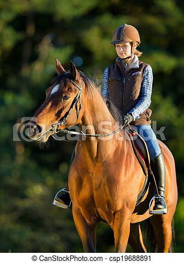 équitation, cheval, femme, jeune - csp19688891