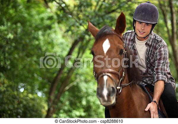 équitation, cheval, jeune homme - csp8288610
